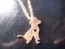 Gold tone Staffordshire Bull Terrier silhouette necklace