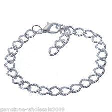 Wholesale 12PCS Lots  20cm Silver Plated Lobster Clasp Link Chain Bracelet GW
