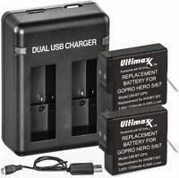Power Battery (2-Pack) and Dual Charger for GoPro HERO8 HERO7 HERO6 HERO5
