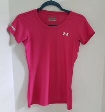 Under Armour Heat Gear Pink Womens Fitted Workout T-Shirt Logo Size S