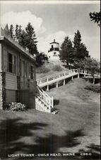 Owls Head ME Lighthouse & Steps Real Photo Postcard