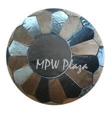 MPW Plaza Velvet Pouf, Sapphire Blue Grey, Moroccan Ottoman (Un-Stuffed)