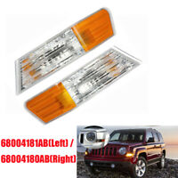 2Pcs Car Parking Turn Signal Light Housing Cover ABS+PMMA For Jeep Patriot 07-14