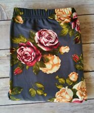 PLUS Size Gray Floral Rose Leggings Red Yellow Roses Print 10-18