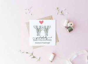 Personalised 14th wedding anniversary card, Ivory, husband, wife, anniversary,