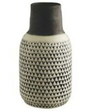 Habitat Home Decor Living Room Kitchen Trina Patterned Modern Vase - Black Top