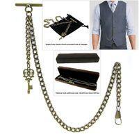 Albert Chain Pocket Watch Curb Link Chain Antique Brass Plating Fob T Bar AC15