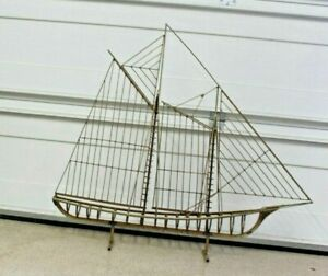 LARGE MID-CENTURY CURTIS JERE SCULPTURE OF SAIL BOAT  METAL SIGNED ~ 1972