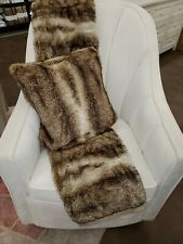 New Pottery Barn Faux Fur Throw Blanket Ombre 50X60 with pillow cover caramel