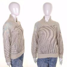 vintage retrò anni 90 a righe TIGRE motivo maglione M/L 10 12 14 Largo Beige