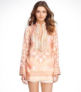 Tory Burch Iveta Silk Tory Tunic Silk 14 Embellished  XL Peach Embellished