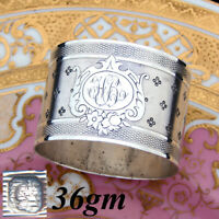 """Antique French Sterling Silver Napkin Ring, Guilloche Style, Medallion with """"HR"""""""