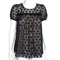 JILL STUART Black Sheer Pleated Baby Doll Top Yellow Floral size Small /5814