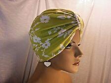 "Chemo Turban Hijab Tichel Hat Lime White Floral Scuba  ""Something4you"" Alopecia"