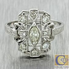 1920s Antique Art Deco Solid Platinum .35ctw Marquise Diamond Filigree Ring