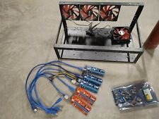6 - 8 GPU Mining Rig Frame w/ PCIe risers + cables kit + 4 fans + power relay