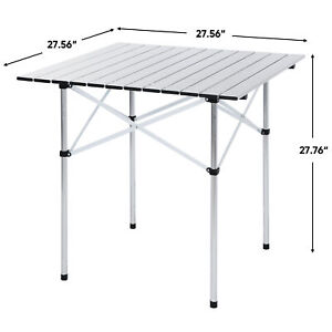 Portable Folding Aluminum Roll Up Table Lightweight Outdoor Camping Picnic + Bag