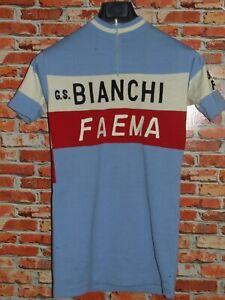 Trikot Fahrrad Radsport Eroica Vintage 70'S Weiße Faema VITTORE GIANNI Wolle