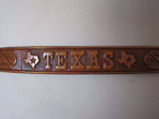 VINTAGE 1990'S SLIM TAN TOOLED LEATHER TEXAS SOUVENIR BELT BRASS EFFECT BUCKLE