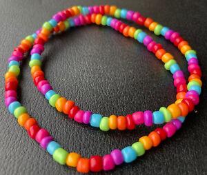 Boho Hippie Hippy Yoga Rainbow Multi Colour Bead Stretchy Ankle Bracelet Anklet