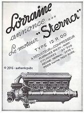 PUBLICITE AUTOMOBILE LORRAINE MOTEUR STERNA TYPE 12R00 DE 1936 FRENCH AD CAR PUB