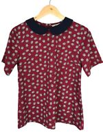 Womens Chiffon Blouse Size 10 Top Owls Print Burgundy Red Peter Pan Collar