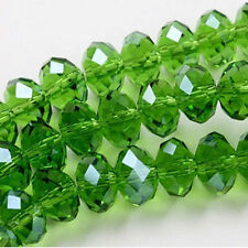 Free Shipping 98pcs Green Crystal  Loose Beads 4x6mm A.1566