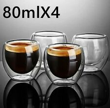 4pcs-80ml Double Wall Glass Beer Cup New Espresso Heat Resistant Glass Whiskey