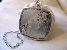 Antique Art Deco Silver T Engraved Woman Enamel Floral Dance Compact 1920s