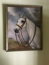 VINTAGE FLEA BITTEN GREY HORSE PASTEL DRAWING PICTURE by ORABEL THORTVEDT ~ 1937