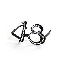Brille 18. Geburtstag, schwarz mit transparenten Strass-Steinen