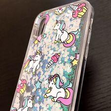 iPhone X - TPU Rubber Floating Waterfall Liquid Glitter Case Pink Hear