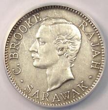 1910-H Sarawak 20C Coin - Certified ANACS AU50 Details - Rare!