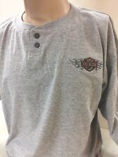 Harley-Davidson Men's Gray Long Sleeve Henley Shirt Embroidered Design Medium