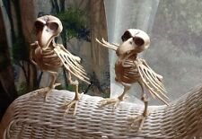 2 GREY SKELETON BIRD HALLOWEEN PROP SPOOKY Posable Home Decor FREE SHIPPING!!