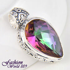 Teardrop New Vintage Silver Plated Rainbow Colored Mystic Topaz Necklace Pendant