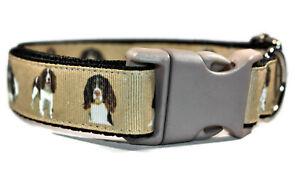 Spaniel Beige Adjustable handmade dog puppy collar boy girl medium 25mm