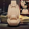 Beige Car Seat Cover Cushion W/ Pillows All Season PU Leather Interior Full Set