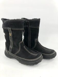 Clarks Bendables Black Suede Leather Winter Zip Faux Lined Boots Size 8.5