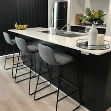 Upholstered Bar Stool Set x 3 Indoor Kitchen Furniture Seat Chair Grey/Black