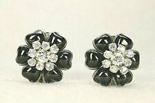 CHANEL Camellia Flower 95A Clip-on Earrings Rhinestone/Silver