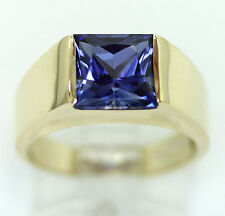 Mens sapphire pinky ring 14K yellow gold solitaire square princess cut 3.40C sz7