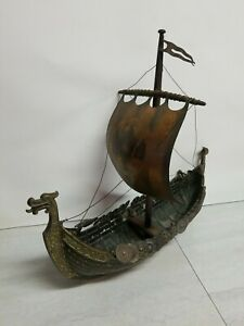 Large Vintage Bronze Viking Dragon Ship by Edward Aagaard by IRON ART Copenhagen