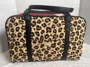 Luv Betsey Johnson Weekender Leopard Red Plaid Print  Duffel Travel Bag NWT