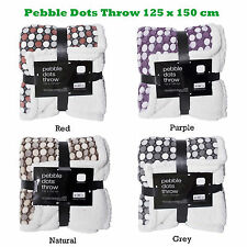 Brushed Pebble Dots Throw with thick Sherpa Reverse Natural Red Grey Purple