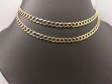 """New 10K Yellow Gold Solid Cuban Link Chain With Diamond Cut Texture 24"""" 13.2Gram"""