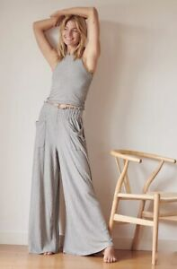 Free People Movement Pant Wide Leg Rib Pull On Blissed Out Heather Gray S NWT