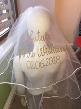 Personalised Veil Wedding Hen Party Glitter Sparkle  Stunning Print Bride To Be