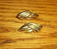 "Vintage Gold-tone Swirl Pierced Earrings- 7/8""L"