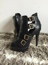 New Look Black Platform Heels Boots Size 5 Very Good Condition